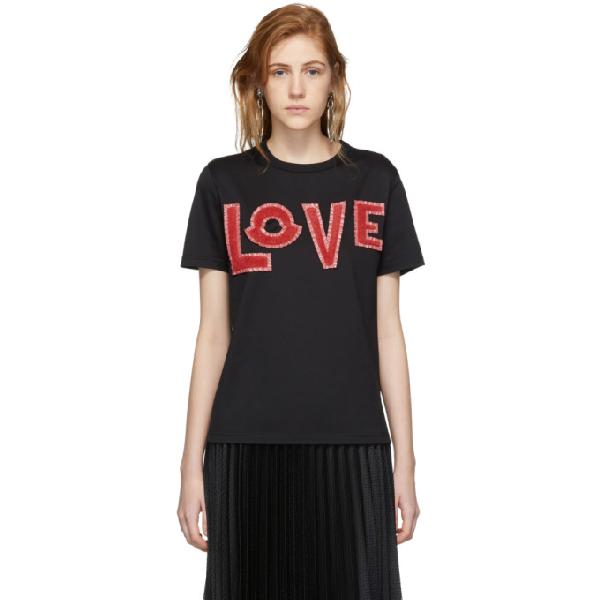 6c4226ba Moncler Genius Love Cotton Jersey T-Shirt W/ Patches In 999 Black ...