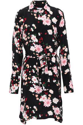 Equipment Woman Clea Floral-print Washed-silk Mini Shirt Dress Black