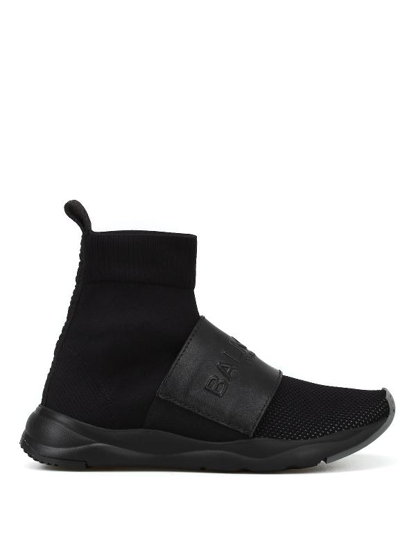 Balmain Cameron Black Stretch Sneakers
