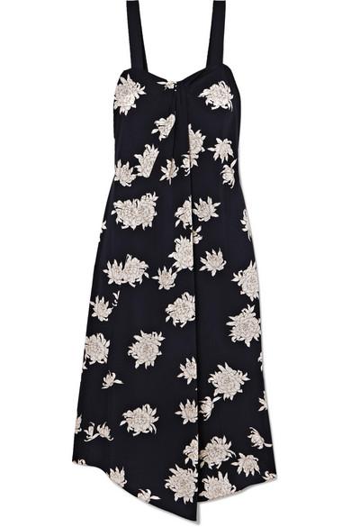 Vince Asymmetric Floral-Print Silk-Crepe Midi Dress In Midnight Blue