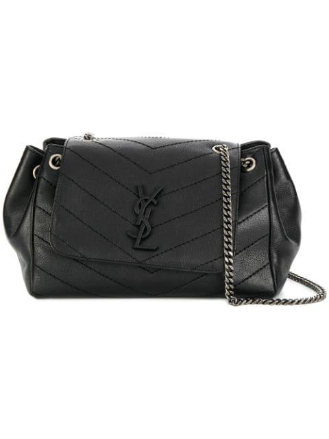 Saint Laurent Nolita Medium Leather Shoulder Bag In Black