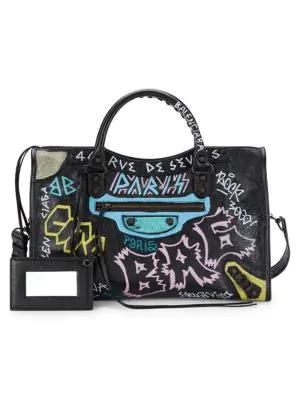 8891be282315 Balenciaga Classic City Aj Graffiti-Print Satchel Bag In Black Pattern
