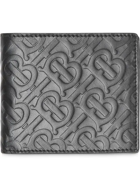 Burberry Monogram Leather International Bifold Coin Wallet In Black