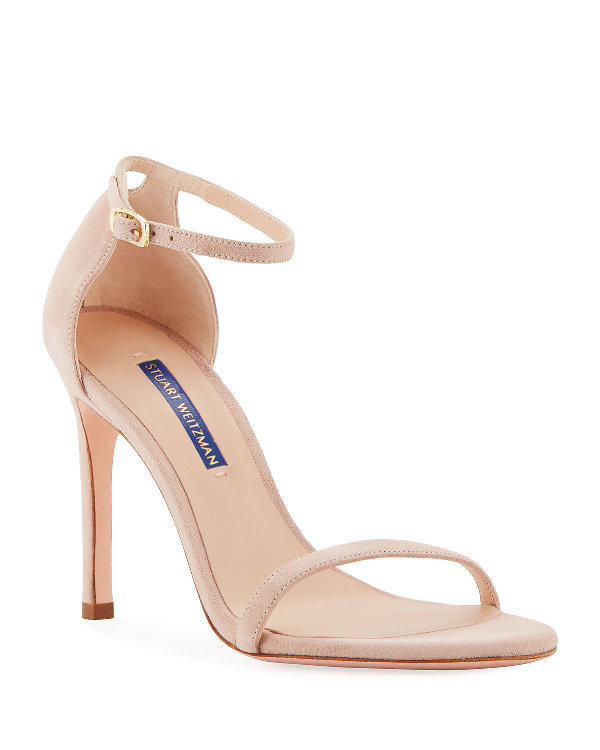 Stuart Weitzman Nudistsong Suede Ankle-wrap Sandals In Dolce