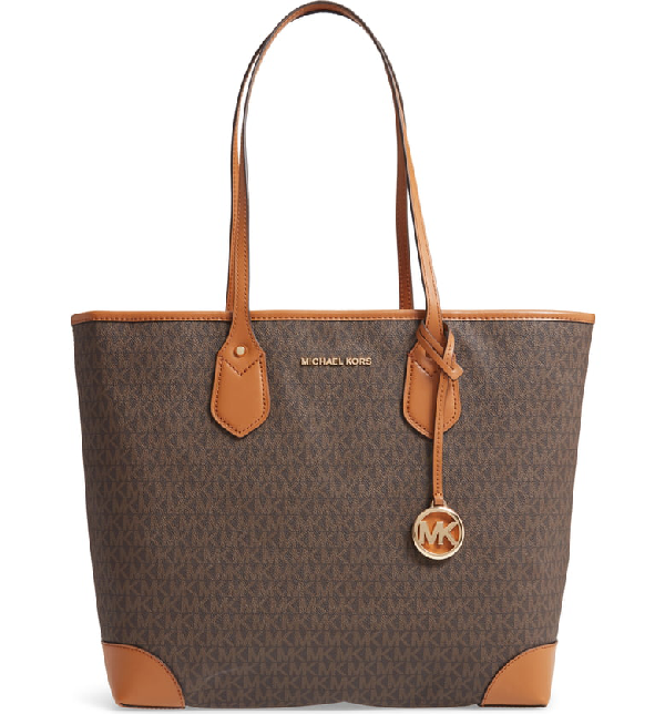 68f6b97c9143 Michael Michael Kors Eva Large Monogrammed Tote Bag - Golden Hardware In  Brown