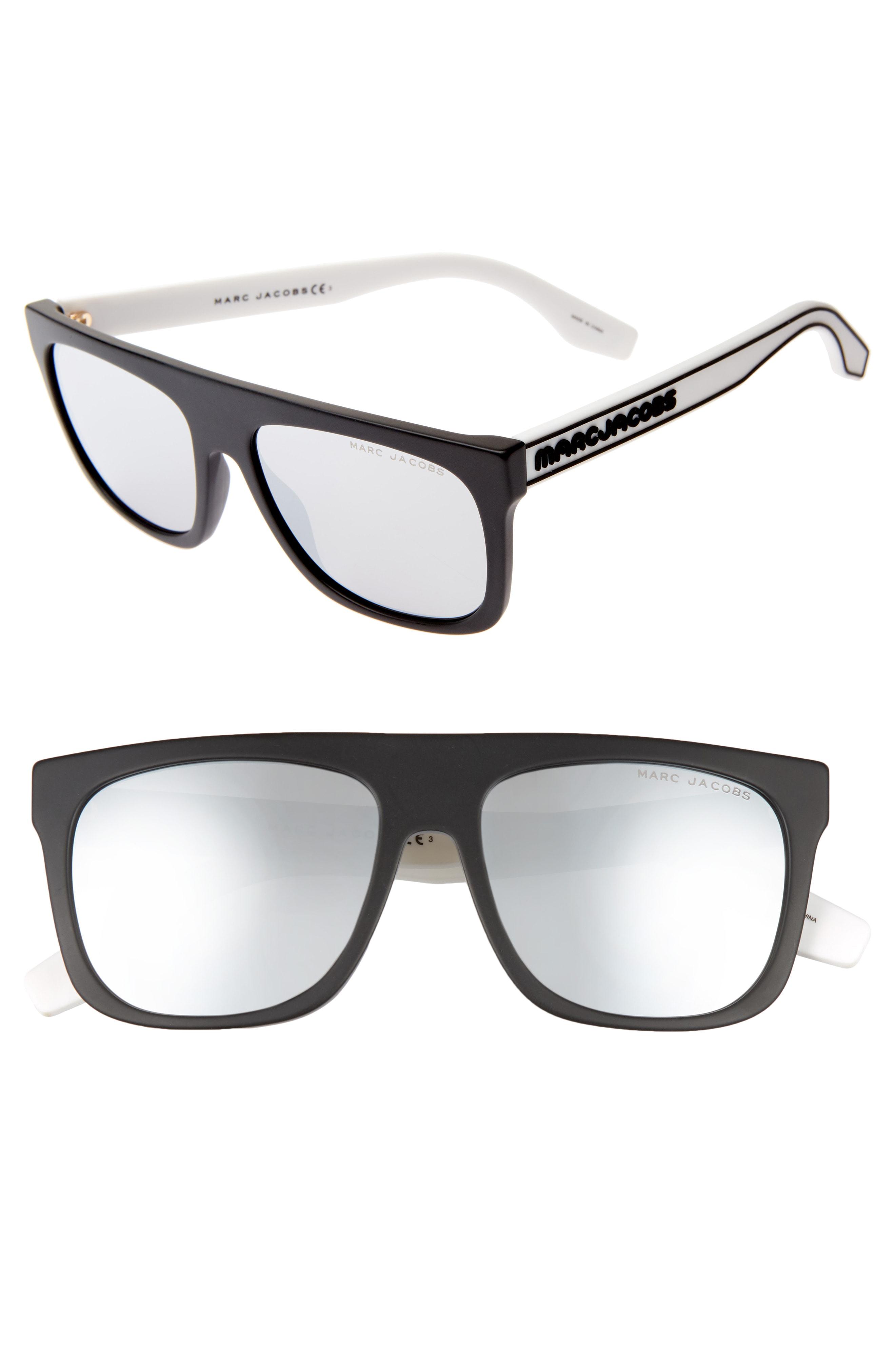 3338b60781 Marc Jacobs 56Mm Mirrored Flat Top Sunglasses - Black