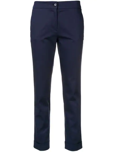 Etro Cropped Slim-fit Trousers In Blue