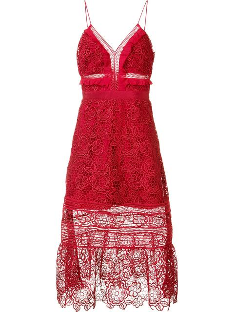 Self-Portrait Woman Ruffled Georgette-Trimmed Guipure Lace Dress Red In Raspberry Red