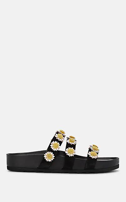 Fabrizio Viti Berkley Daisy-AppliquÉD Suede Slide Sandals In Black