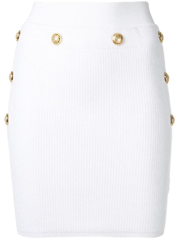 Balmain Viscose Knit Mini Skirt In White