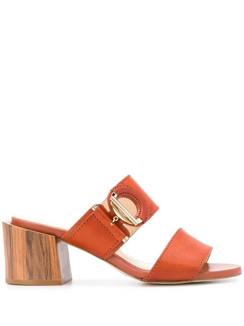 Lanvin Mid-Block Heel Mules In Brown