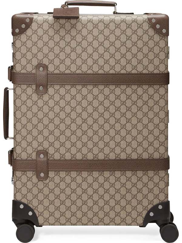 Gucci + Globe-trotter Medium Leather-trimmed Printed Coated-canvas Suitcase In Brown