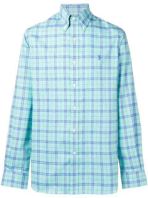 Polo Ralph Lauren Button Down Checked Shirt In Green