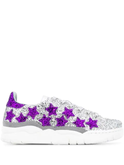 Chiara Ferragni Glitter Stars Sneakers In Silver