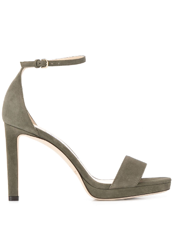 fc42ea420 Jimmy Choo Misty 100 Suede Sandals In Green