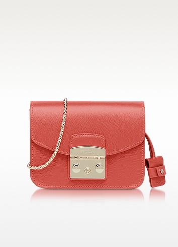 Furla Metropolis Mini Corallo Leather Crossbody Bag