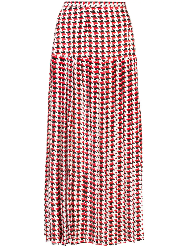757bf4c231 Rixo London Tina Pleated Houndstooth Silk Crepe De Chine Midi Skirt In Red
