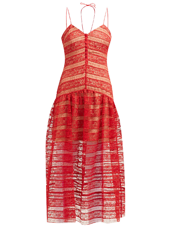 Self-portrait Floral Lace-panelled Midi Dress In Red