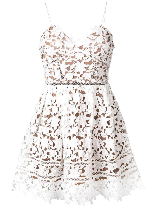 Self-Portrait Azaelea Floral Lace Sleeveless Mini Dress In White