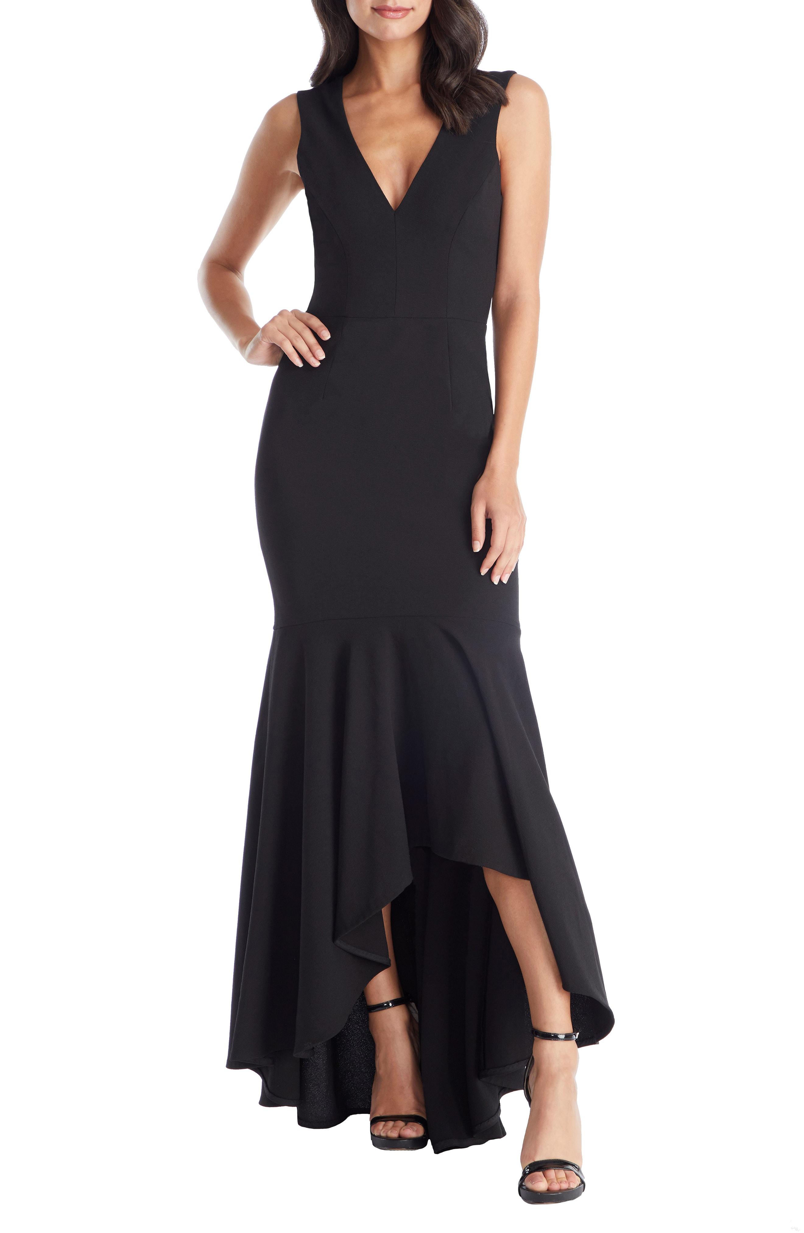 f42f38935cc33 Demi High/Low Mermaid Hem Evening Dress in Black
