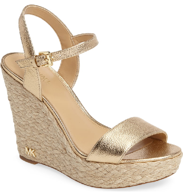 3e98d5a3bfd0 Michael Michael Kors Women s Jill Leather Espadrille Platform Wedge Sandals  In Pale Gold