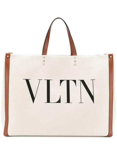 Valentino Grande Plage Vltn Logo Tote - Ivory In Neutrals