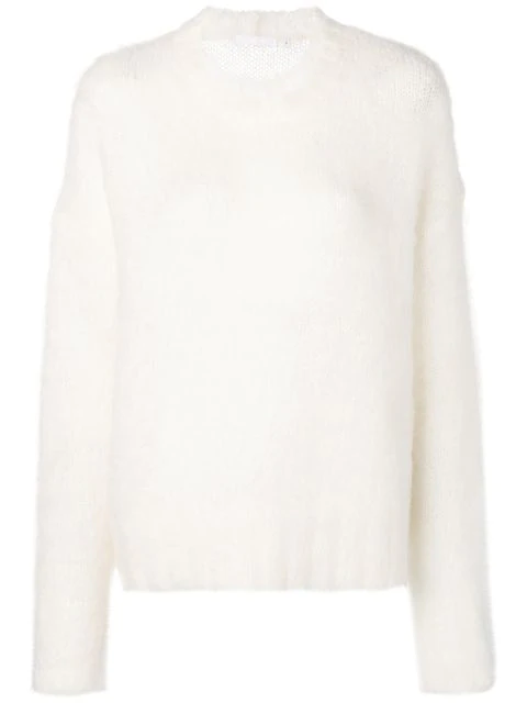 Helmut Lang Furry Knit Jumper In White