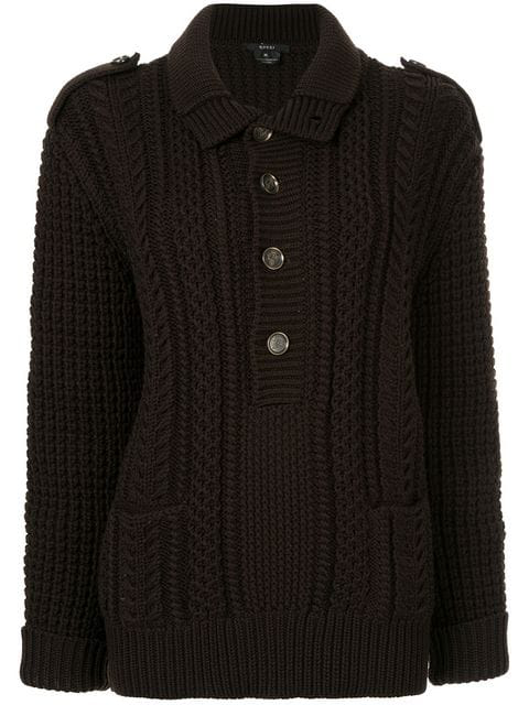 Gucci Cable Knit Jumper In Black