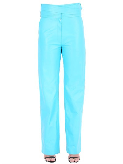 Loewe Nappa Leather Pants In Turquoise