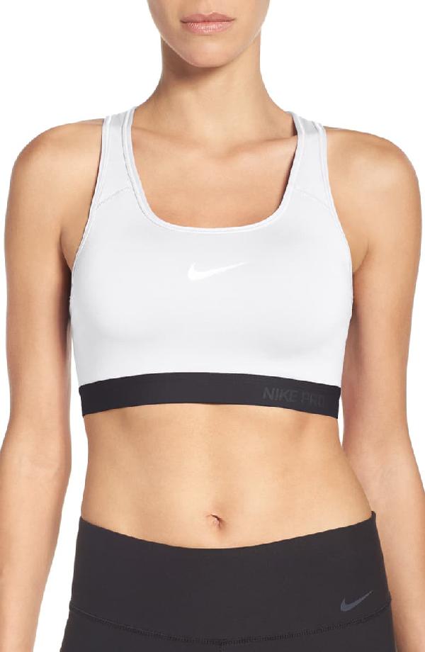 Nike Pro Classic Dri Fit Padded Sports Bra In White Black Black Modesens