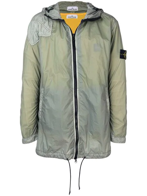 Stone Island Hooded Zipped Coat In Green