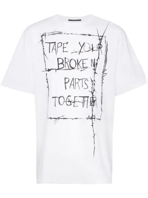 Haider Ackermann Slogan-print Cotton-jersey T-shirt In 006 White
