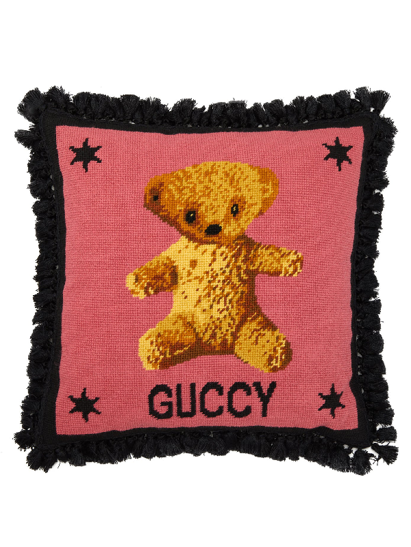 Gucci Teddy Bear-embroidered Wool Cushion In Pink Multi