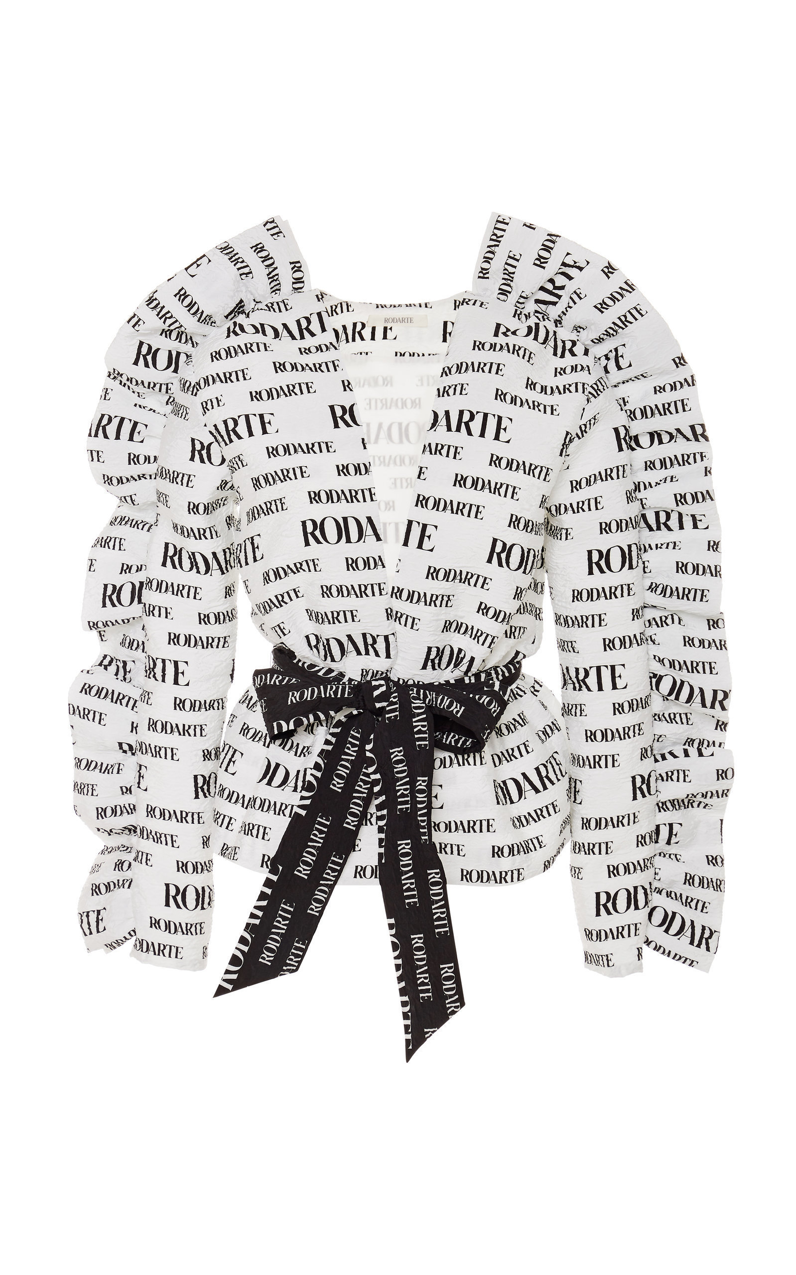 Logo-Printed Belted Cloque Jacket in Black/White