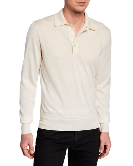 ac993ee0 Tom Ford Men's Long-Sleeve Cashmere-Silk Polo Shirt In Beige | ModeSens