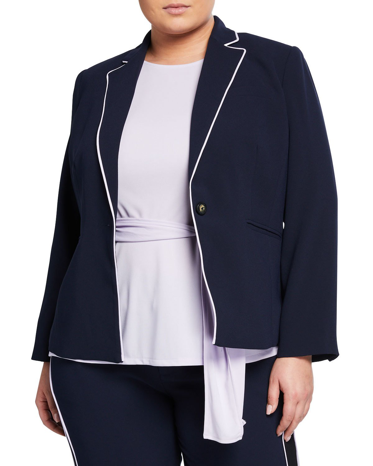 e9f463c771f7 Rachel Rachel Roy Plus Size Halo Piped Button-Front Blazer In Navy