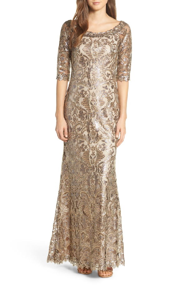 542638a0 Tadashi Shoji Boat-Neck Elbow-Sleeve Sequin Lace Column Gown In Copper/  Shadow