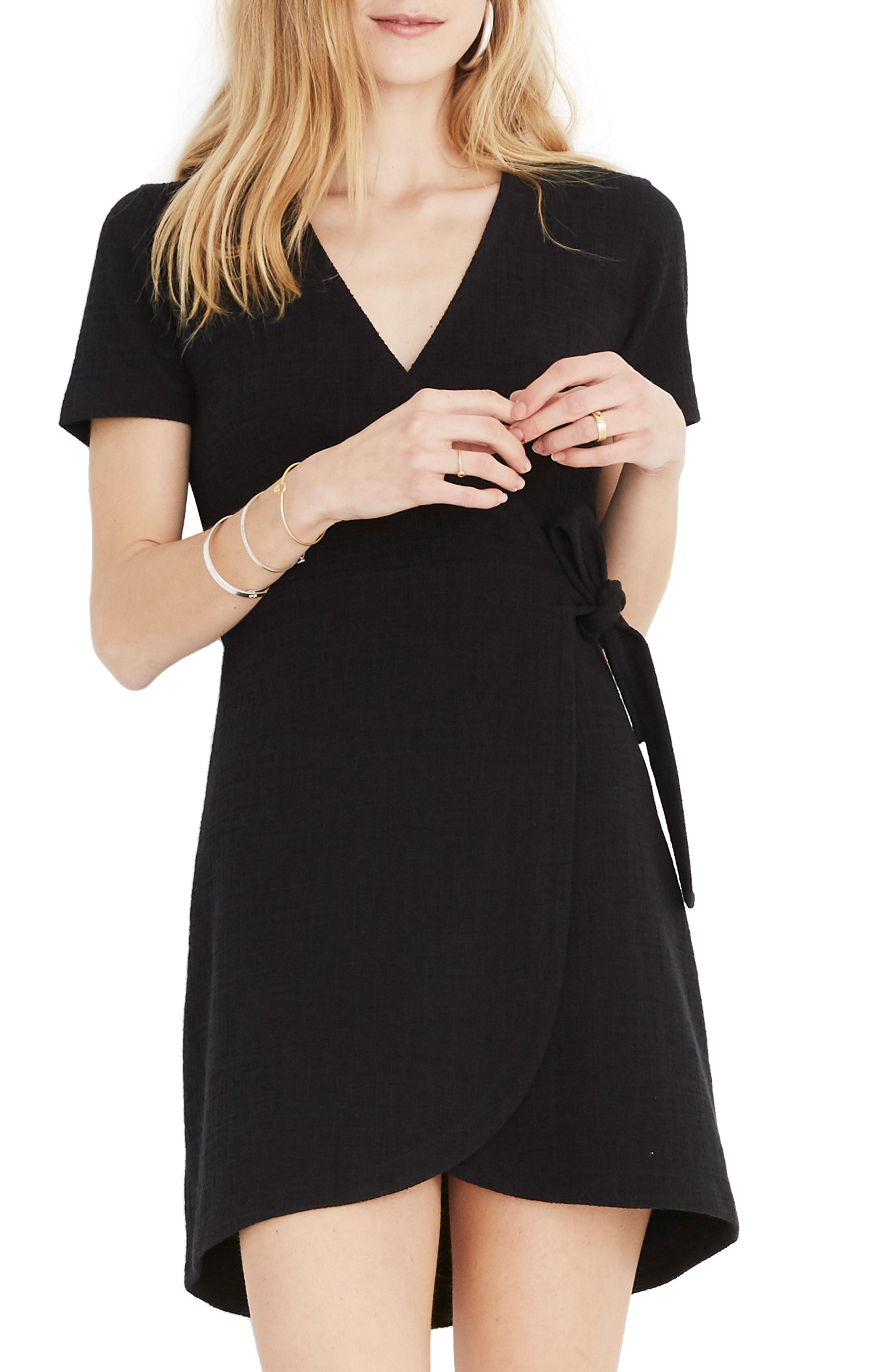 16fbdb677d Madewell Texture   Thread Short Sleeve Side Tie Dress In True Black ...