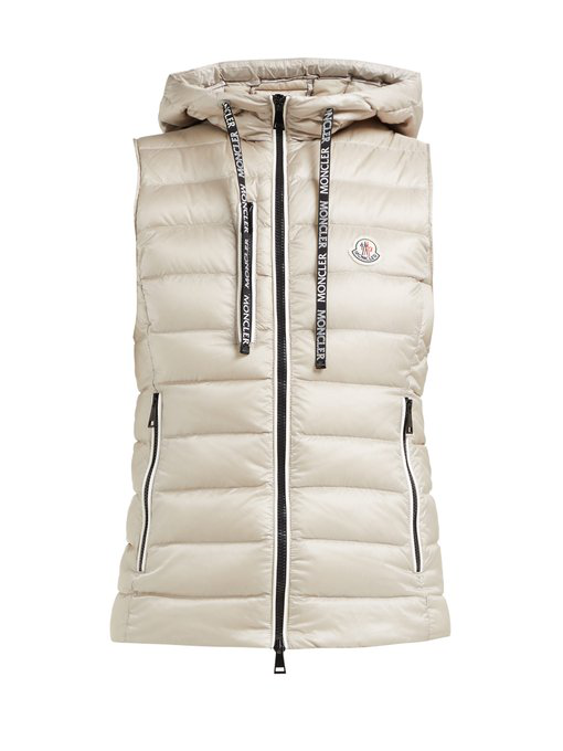 3ba7d14b7 Sucrette Hooded Quilted-Down Gilet in Beige