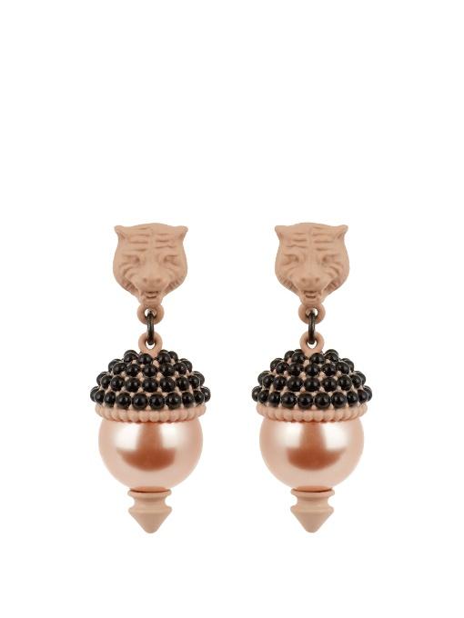 1e0ef87d4e8 Gucci Feline Pearl-Effect Embellished Earrings In Light Pink