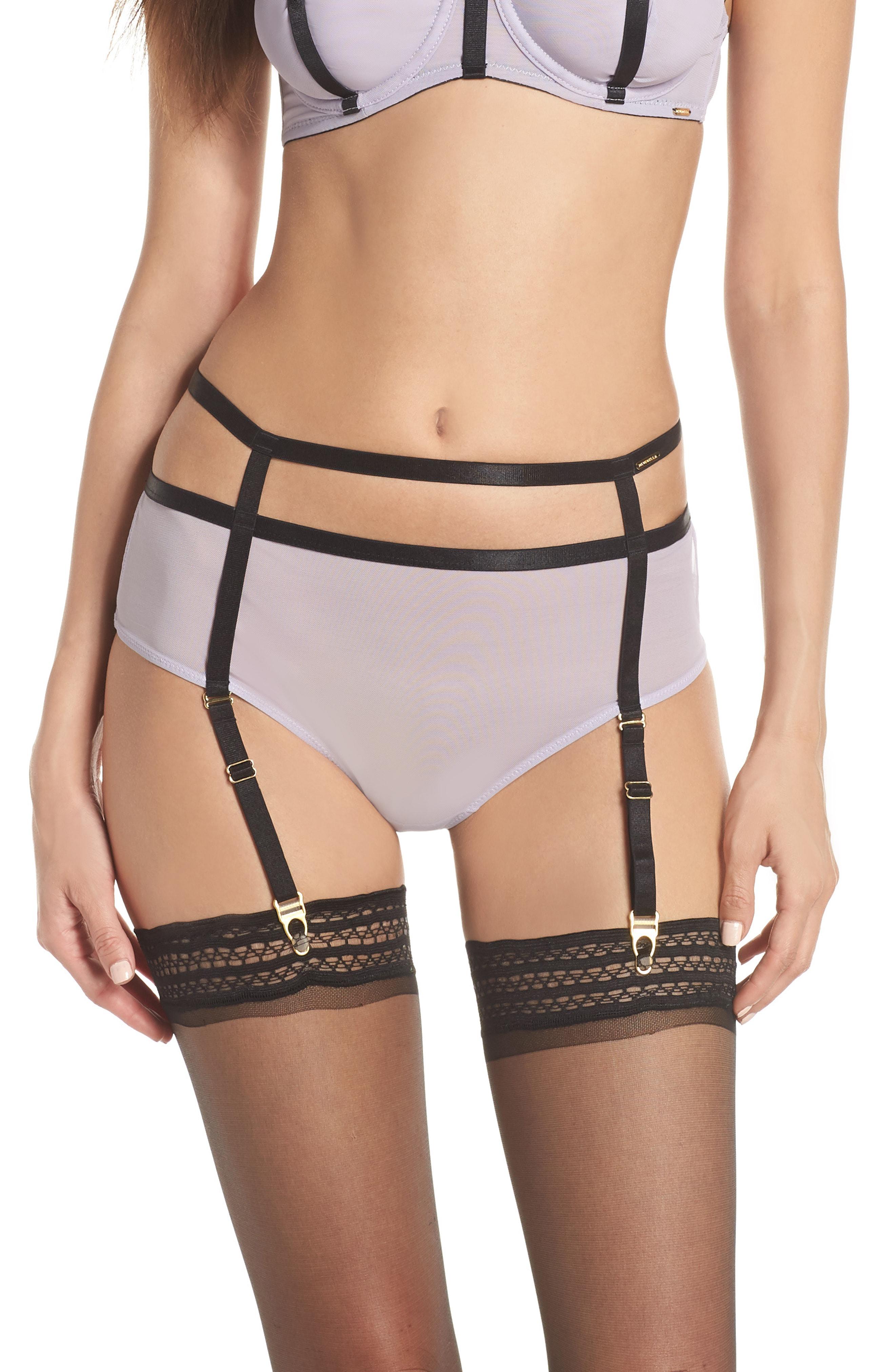 cf5fb97439b Bluebella Denham Garter Thong In Lilac  Black