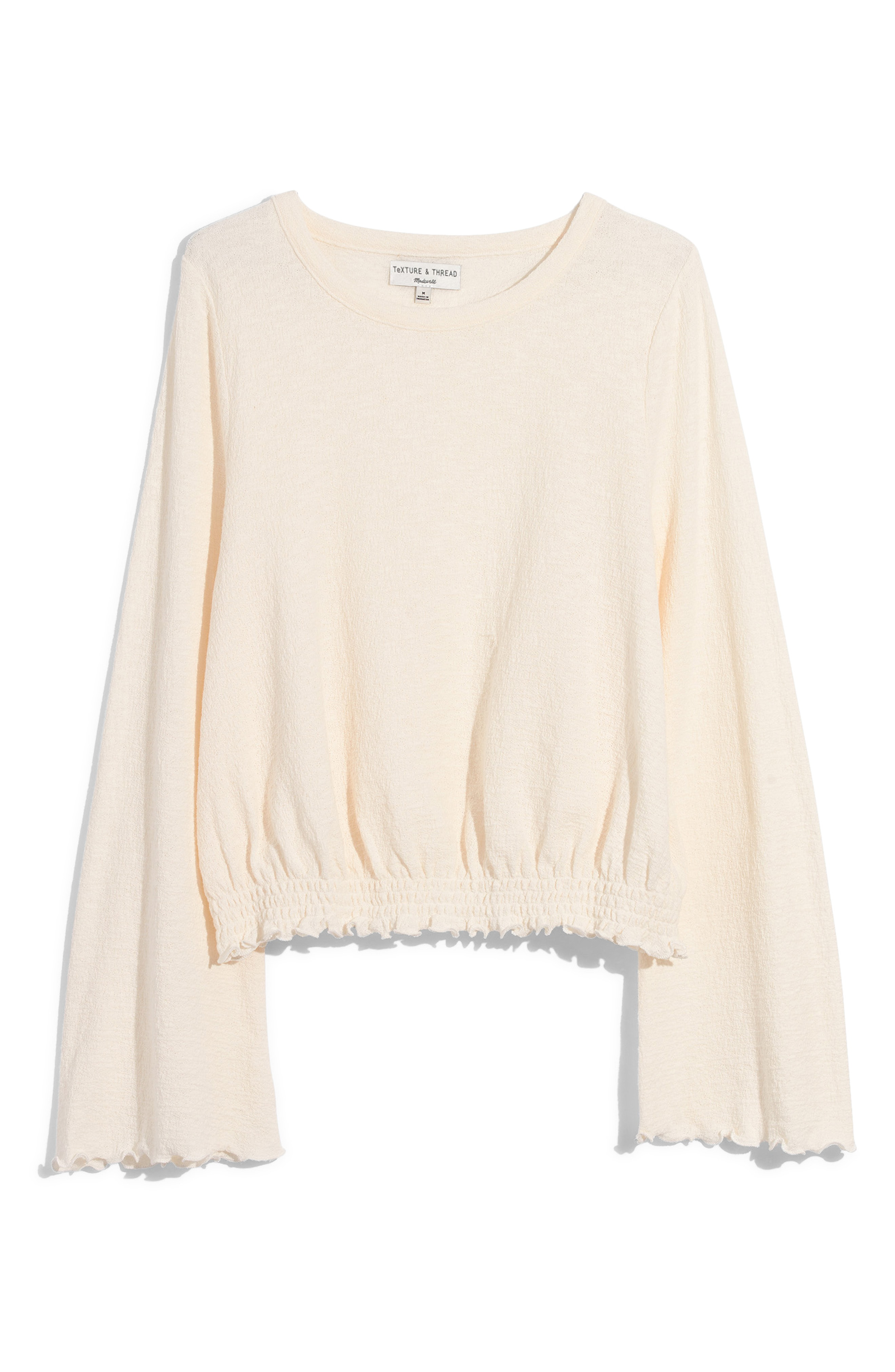 4043cfb423 Madewell Texture   Thread Smocked Bell Sleeve Top In Bright Ivory ...