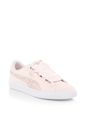 hot sale online d338b 6272c Puma Basket Heart Canvas Low-Top Sneakers In White Rose Gold