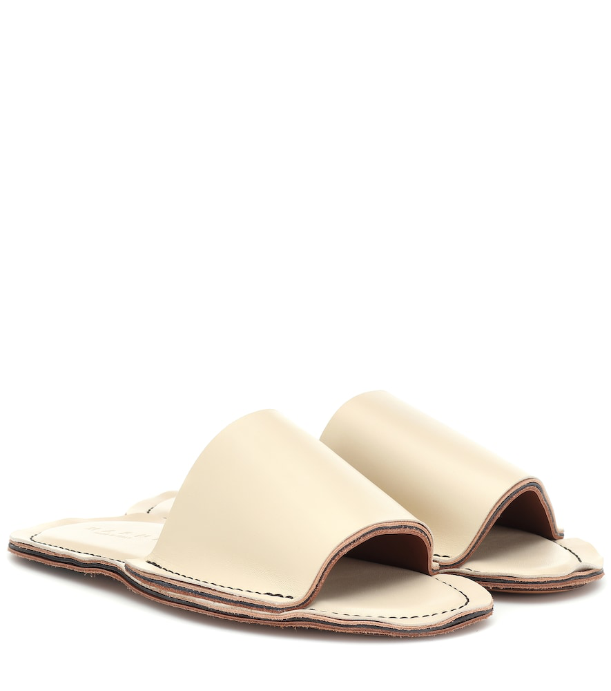 Marni Leather Slides In White