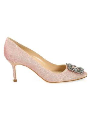 Manolo Blahnik Hangisi 70 Embellished Shimmer Pumps In Champagne Pink