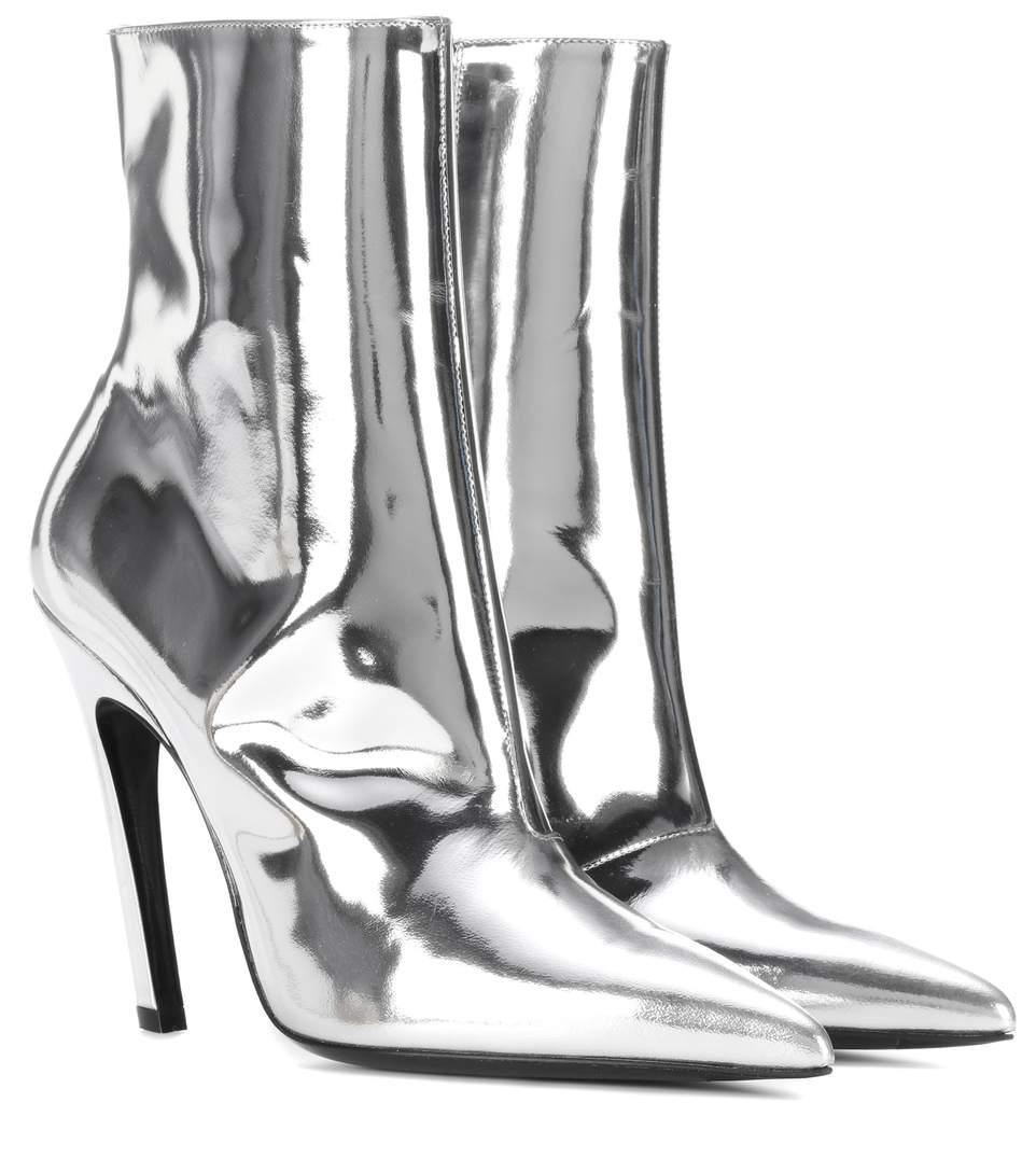 e82a254e4e4 Balenciaga Slash Heel Leather Ankle Boots In Silver