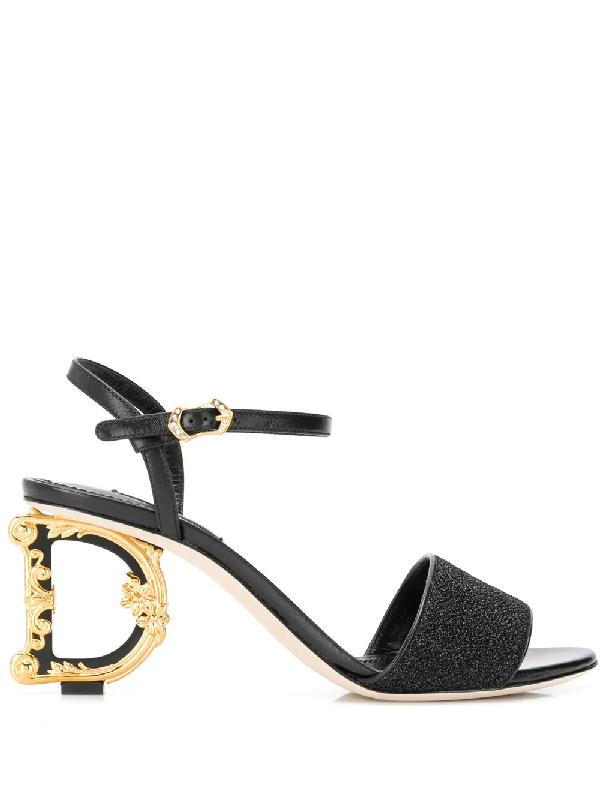 0c59b82e194 Dolce   Gabbana 75Mm Keira Dg Logo Heel Lurex Sandals In Black ...
