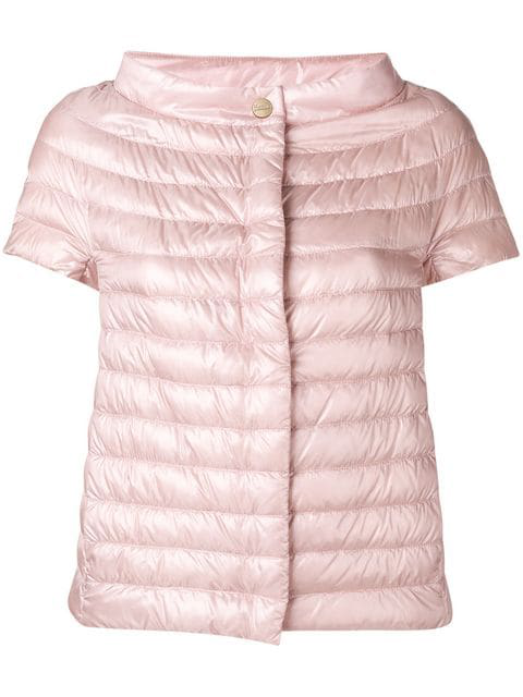 Herno Sleeveless Feather Down Jacket In Pink