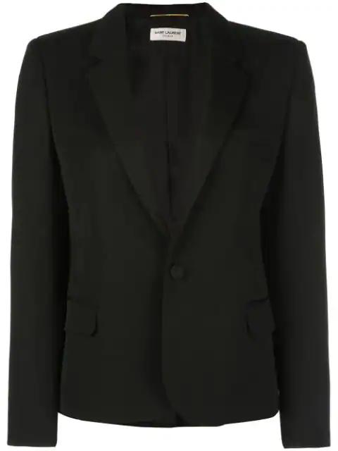 Saint Laurent Single-breasted Blazer In Black