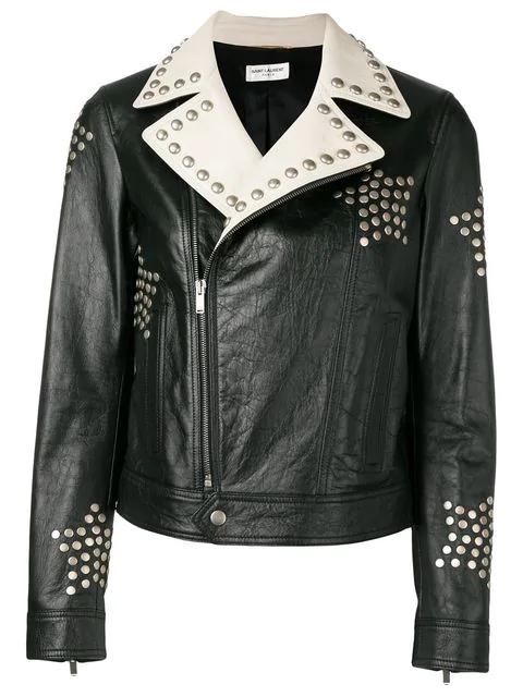 f4f460484e0 Saint Laurent Black Leather Biker Jacket Embroidered With Studs ...